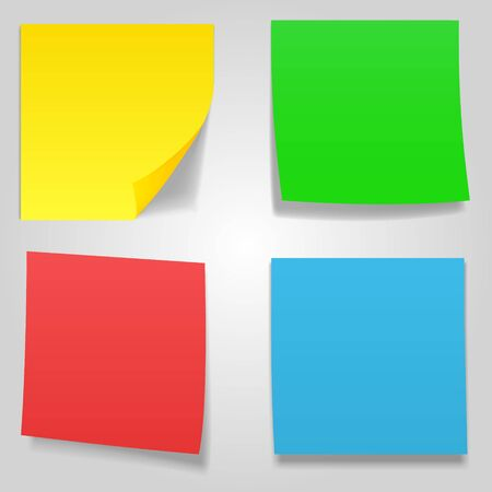 Sticky notes, nine different colors, vector illustration.