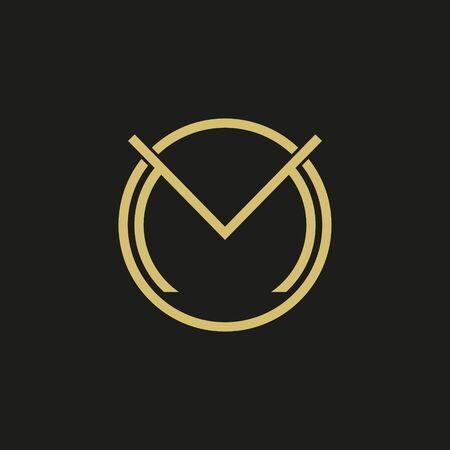 Letter M Circle shape symbol. Vector illustration. Vetores