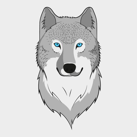 Wolf animal face. Grey wolf head. Vector illustration.