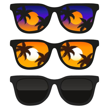 Vector illustration of sun glasses with tropical beach reflection. Isolated.