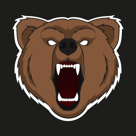 Ilustración de vector de cabeza raring de oso. Aislado. Ilustración de vector