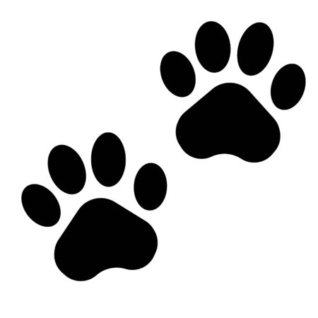 Black paw print icon on white background. Vector illustration.