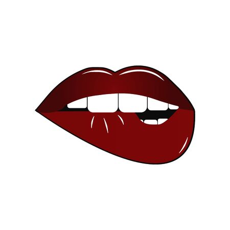 Open woman mouth. Vector mouth with red lip biting. Vector. Çizim