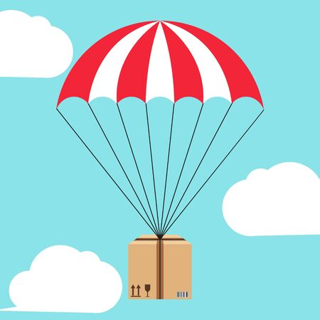 Parachute package floating through the sky.