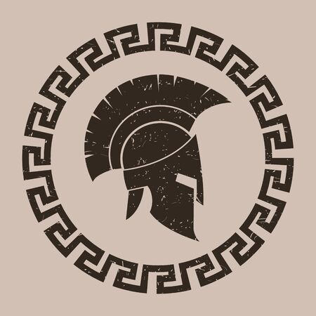 Ancient Greek helmet. Dirty texture. illustration. Vector.