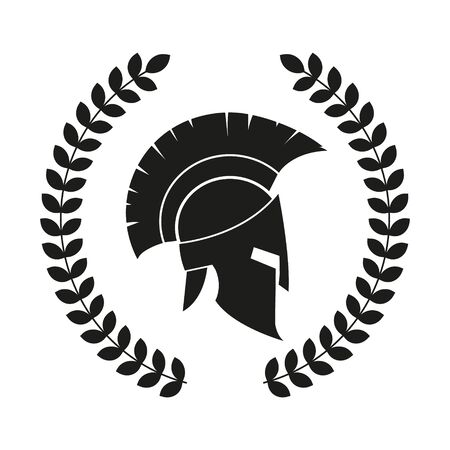 Vectr-Illustration des spartanischen Helms mit Lorbeerkranz. Vektorgrafik