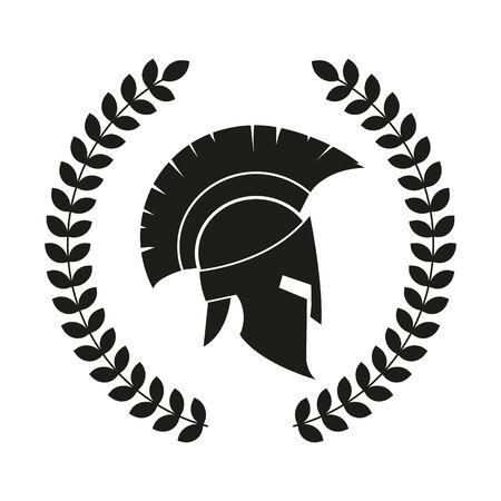 Vectr illustration of spartan helmet with laurel wreath. Ilustración de vector