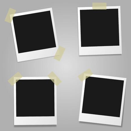Set of vector blank photo frames with shadow.