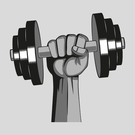 Hand with dumbbell. Gym concept. Vector illustration. Isolated.