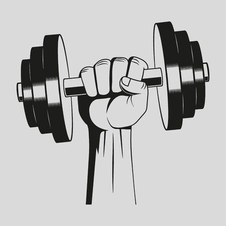 Vector illustration of hand with dumbbell. Illustration