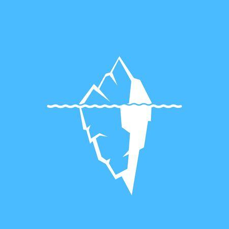 Vector illustration of iceberg on blue backgrund. Icon.