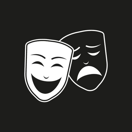 Theatrical masks icon on black background isolated vector.