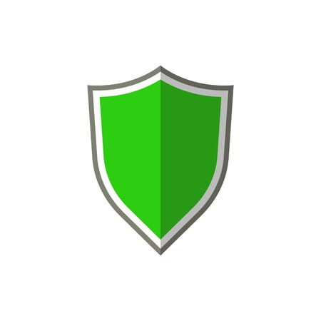 Vector illustration of protection green shield icon. Flat design.