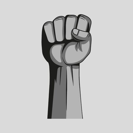 Fist revolution on a grey background. Vector illustration.