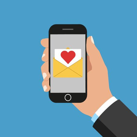 Vector illustration of message in smartphone.