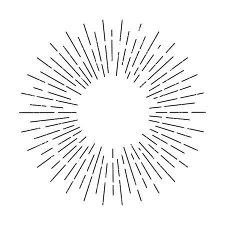 Ilustración de vector de diseño vintage sunburst. Aislado.