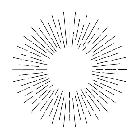 Vector illustration of vintage sunburst design. Isolated.