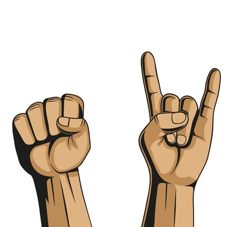 Hand in rock sign and fist. Vector illustration. Isolated.