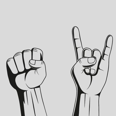 Hand showing rock sign and fist. Vector.