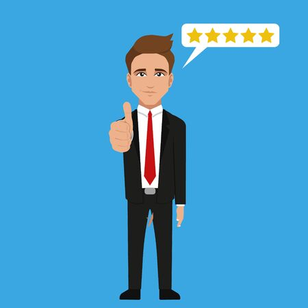 Successful businessman character gives thumb up. Illustration