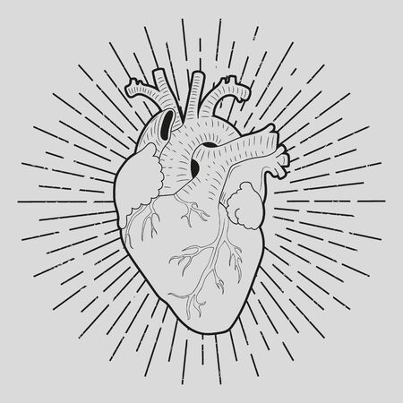 Abstract human heart, lino cut effect, vector illustration