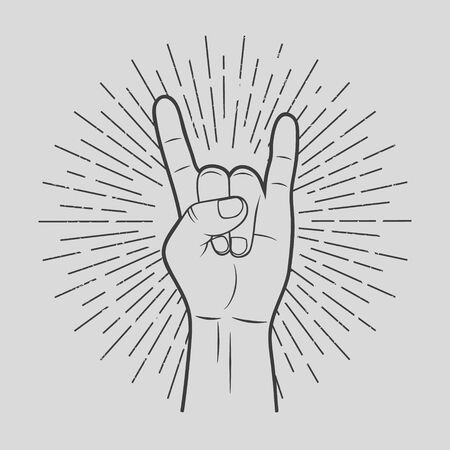 Vector illustration of hand in rock sign. Isolated.