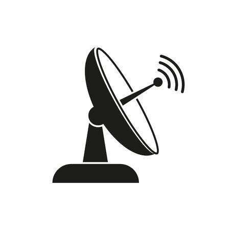Icono de vector de TV por satélite. Símbolo de signo aislado simple.