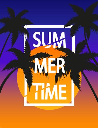 Vector illustration of summer time concept. Palm tree.