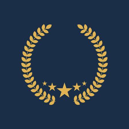 Vector illustration of laurel wreath with stars. Vector Illustration