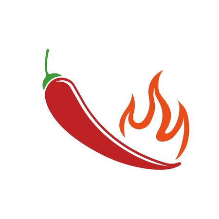 Vector illustration of chili pepper in fire. Isolated.