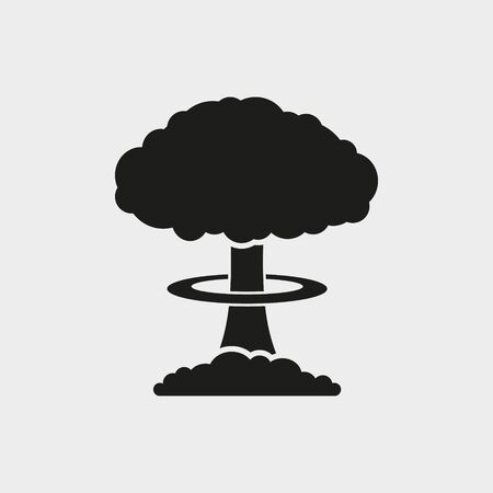 Mushroom cloud, nuclear explosion, silhouette. Flat vector web icon. Illustration
