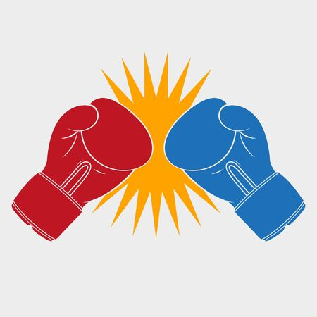 Vector illustration of clash of boxing gloves.