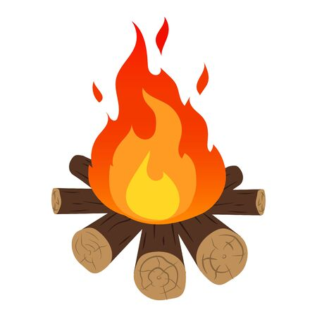 Camp fire icon. Flat illustration of fire vector icon. 向量圖像