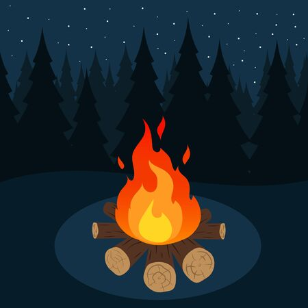 Illustration of camp fire in forest at night.