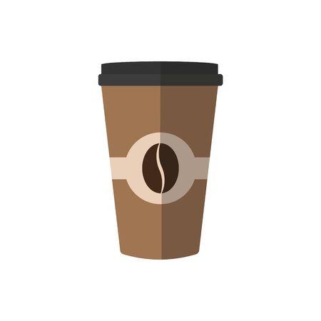 Einweg-Kaffeetasse-Symbol mit Kaffeebohnen-Logo, flaches Design der Vektorillustration.