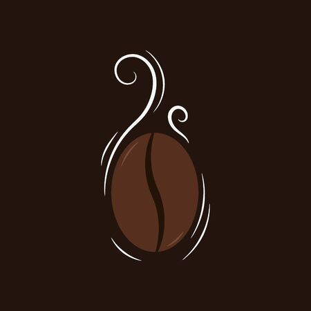 Vector illustration of coffee bean with steam.