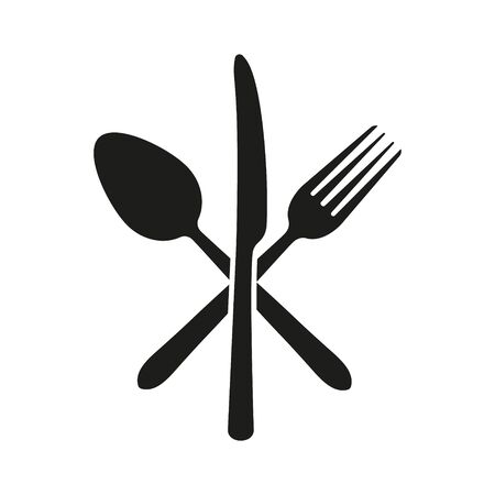 Vector illustration of crossed knife, fork and spoon. Isolated. 일러스트