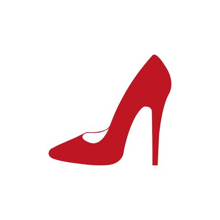 High hill shoes abstract isolated on a white backgrounds, vector illustration.