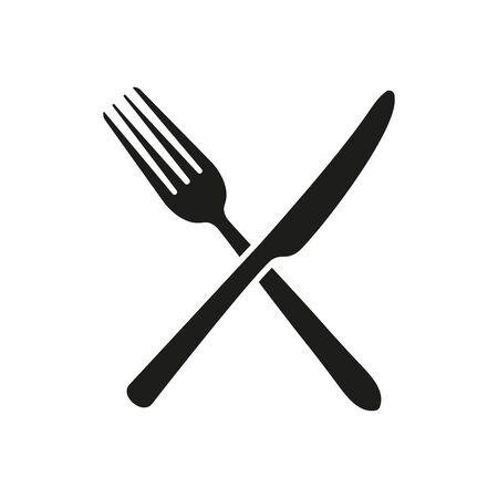 Illustrazione vettoriale di forchetta incrociata e icona di coltello. Isolato. Vettoriali