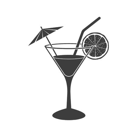 Cocktail icon placed on white background. Vector. 矢量图片
