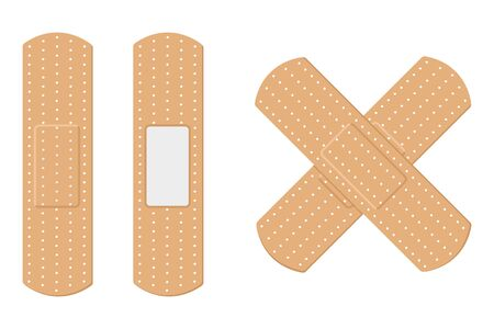 Vector illustration of adhesive bandage elastic medical plasters.