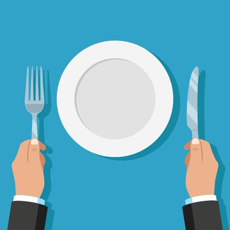 Illustration of hands holding knife and fork with empty plate.