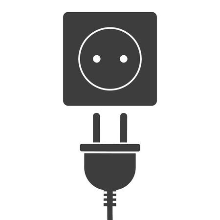 Vector illustration of power plug and socket. Islated.
