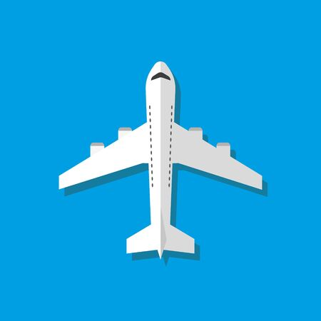 White airplane vector illustration, flat style. Vector.