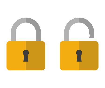 Opened and closed locks. Flat locks. Ilustracja