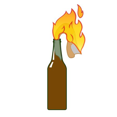 Fire bottle icon flat isolated on white background vector.
