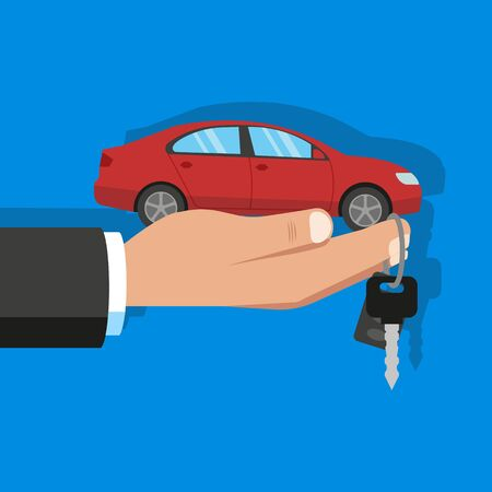 Buying or renting a red car. Vector.