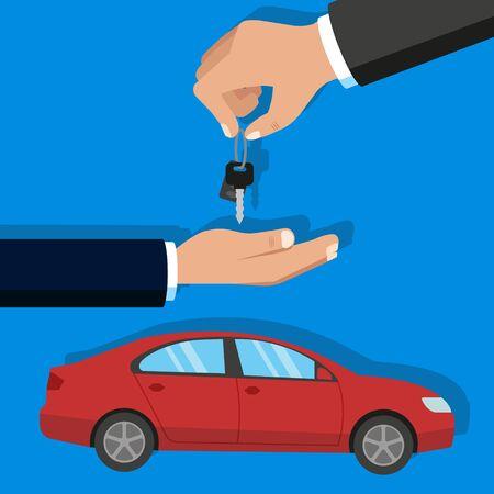 Vector illustration of car buying concept. Flat design.