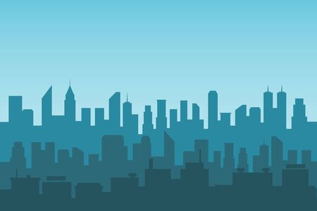 Vector illustration of blue silhouette of a city.