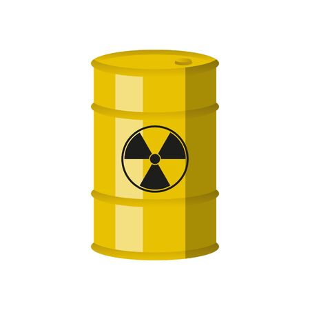 Chemical waste yellow barrel. Toxic refuse keg. Vector. Stock fotó - 138014664